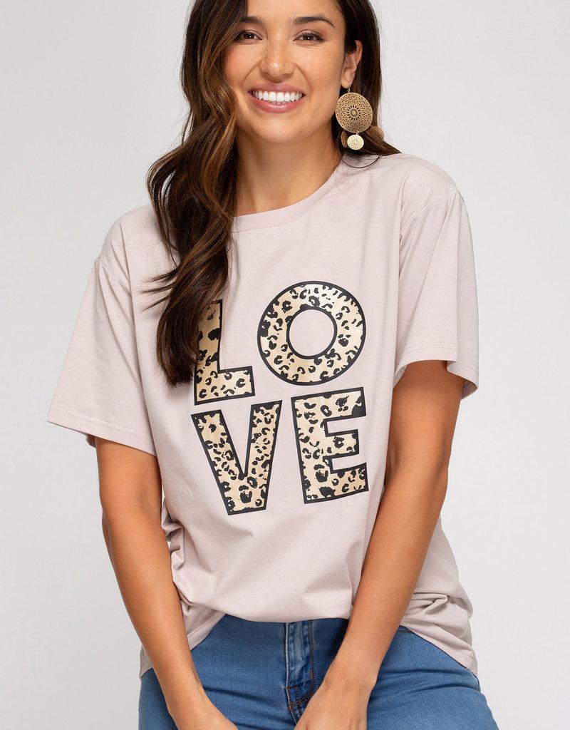 LOVE Leopard Print Tees-Short Sleeve