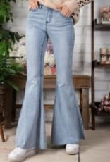 Stretch Washed-Out Denim Flare Jeans
