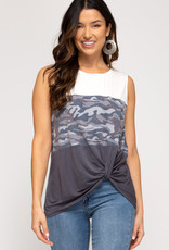 Camo Sleeveless w/ Contrasting Panels and Side Twist