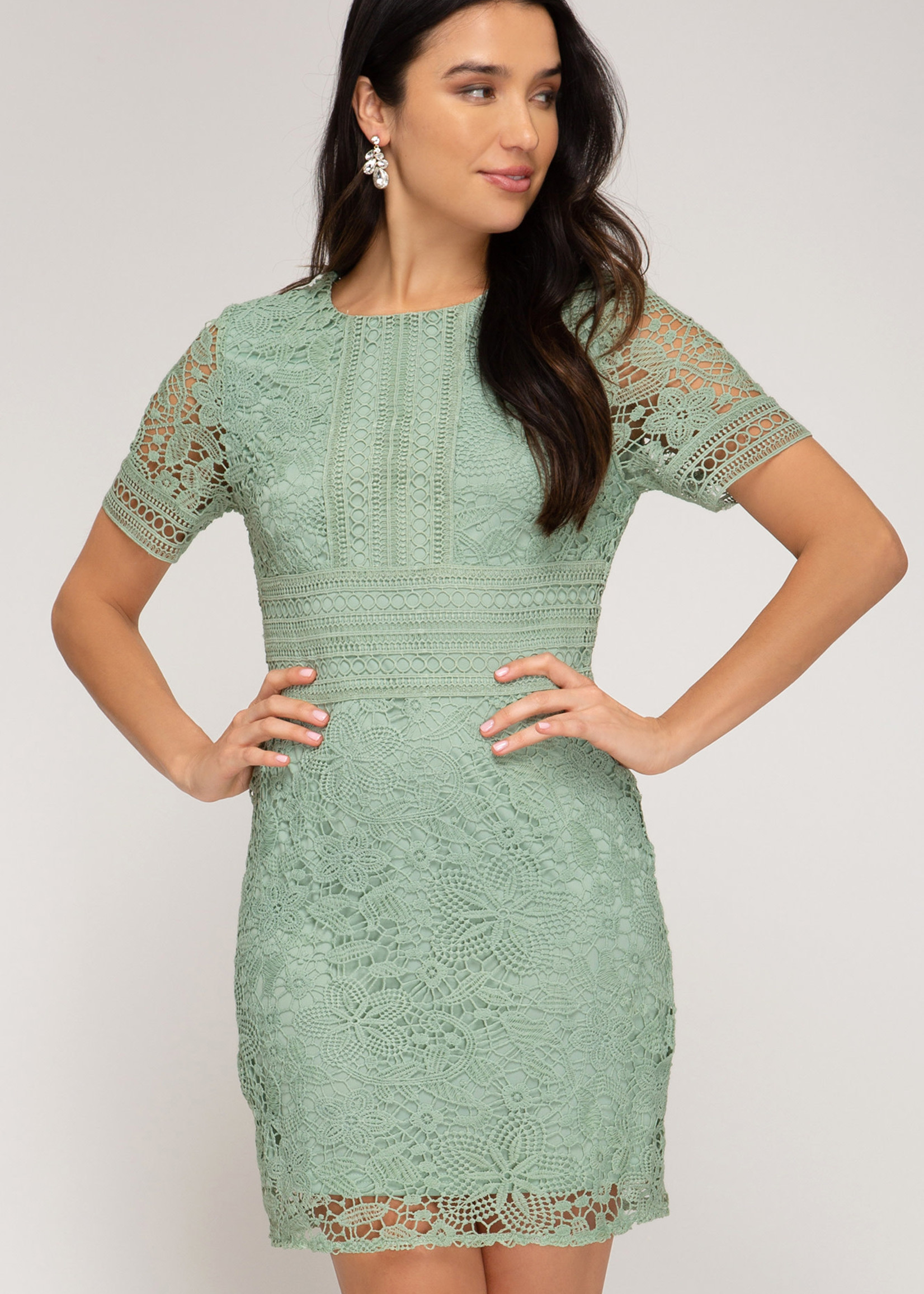 Short Sleeve Crochet Lace Dress