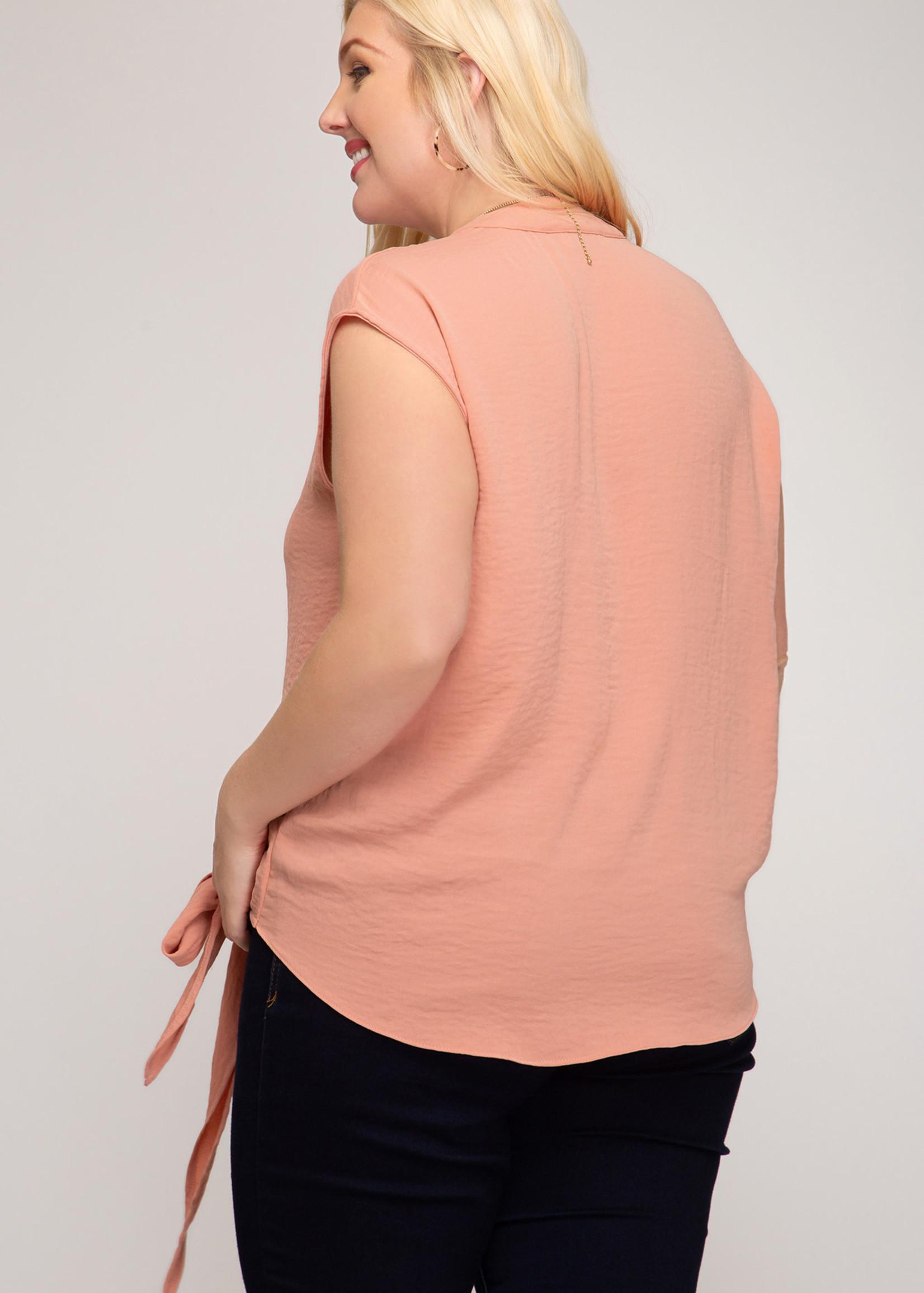 Sleeveless Surplice Top w/Front Side Tie Detail