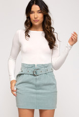 Washed Twill Woven Skirt w/ Belt and Pockets