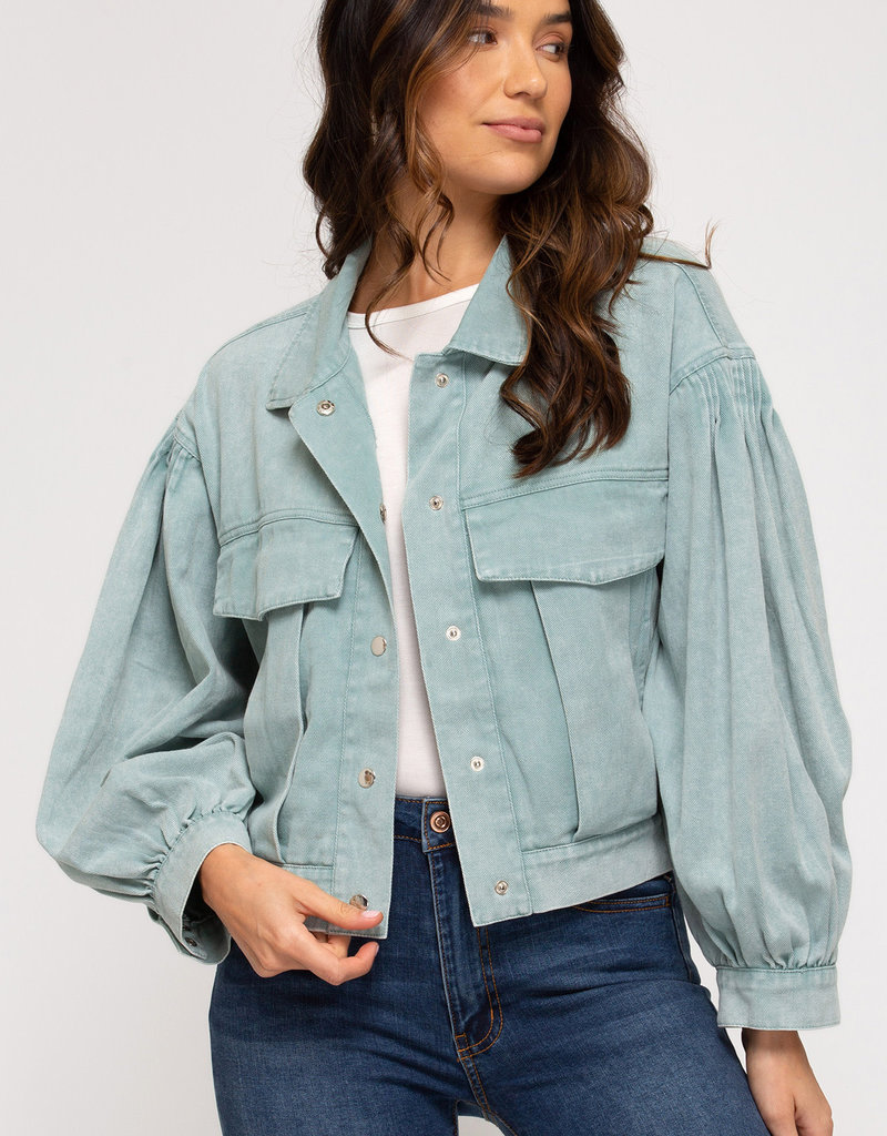 Long Sleeve Washed Twill Jacket w/ Front Pockets