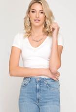 Short Sleeve V-Neck Basic Top