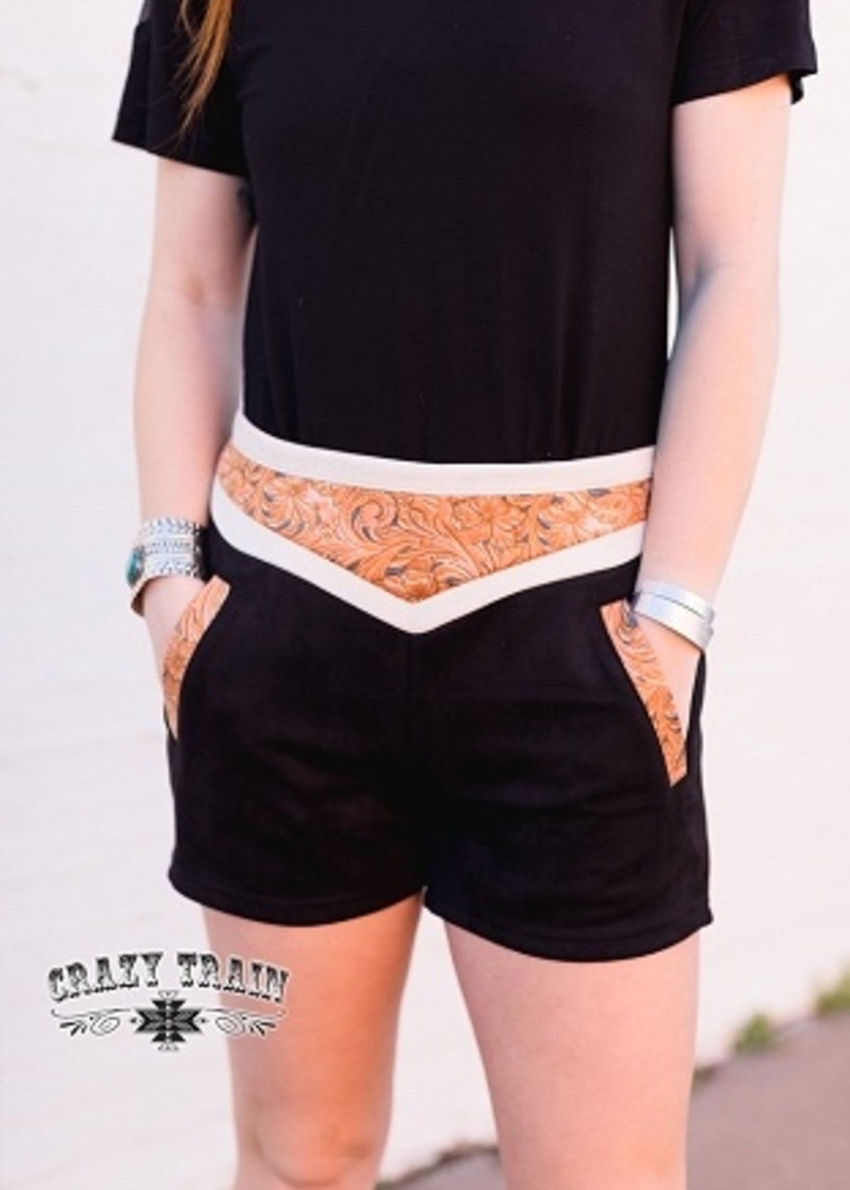 Leather Print Suede-Like Shorts