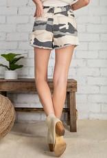 Distressed Camo Shorts