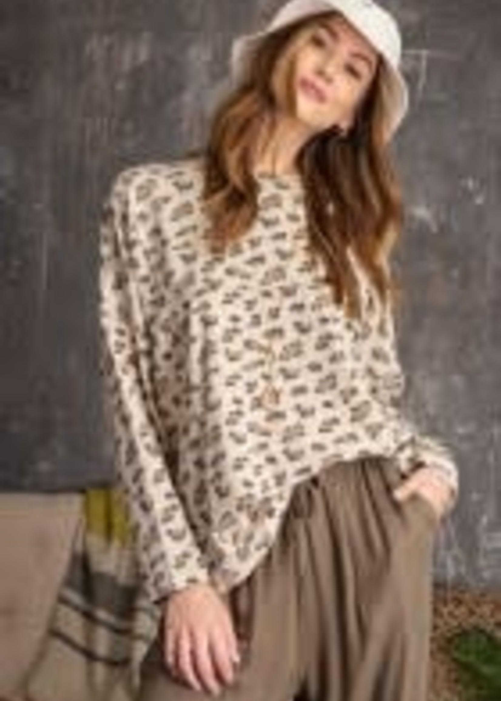 Leopard Oversized Long-Sleeve Tee