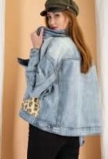 Leopard Print Contrast Denim Jacket