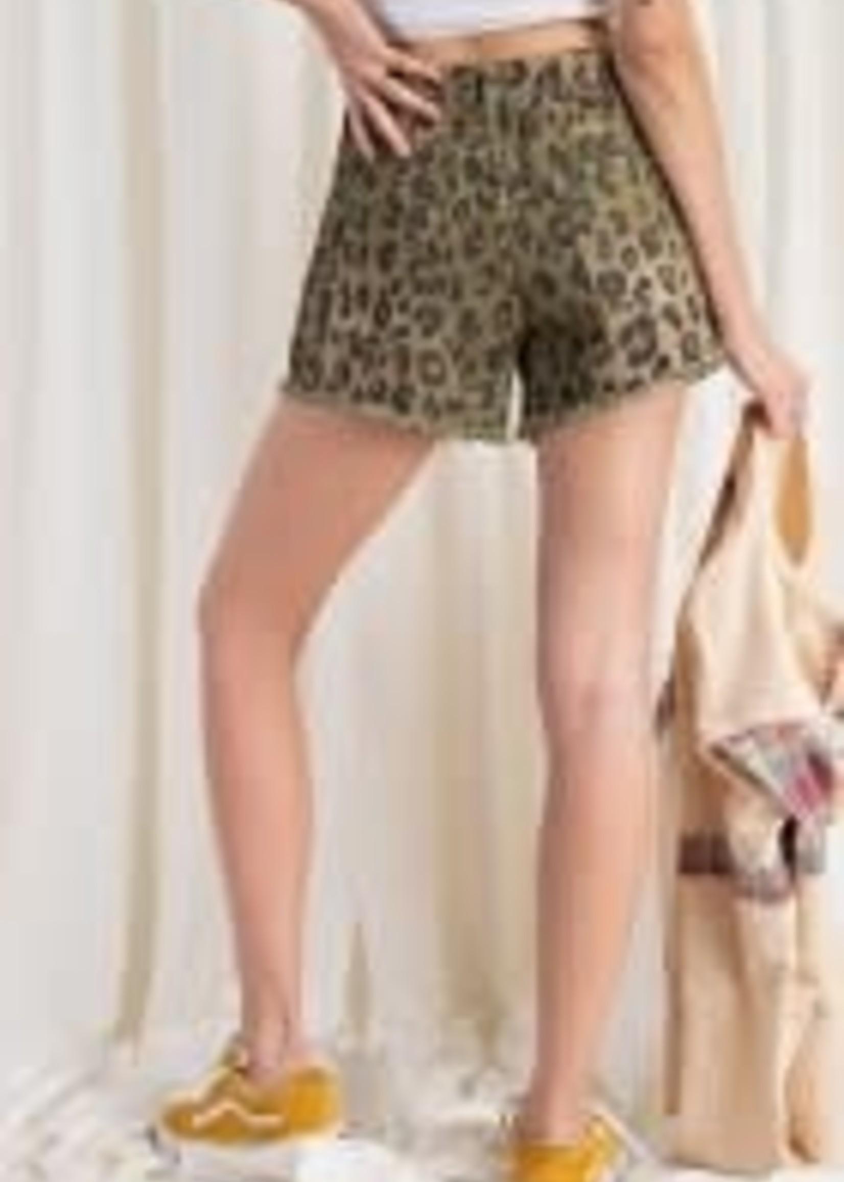 Leopard Print Distressed Hem Denim Shorts