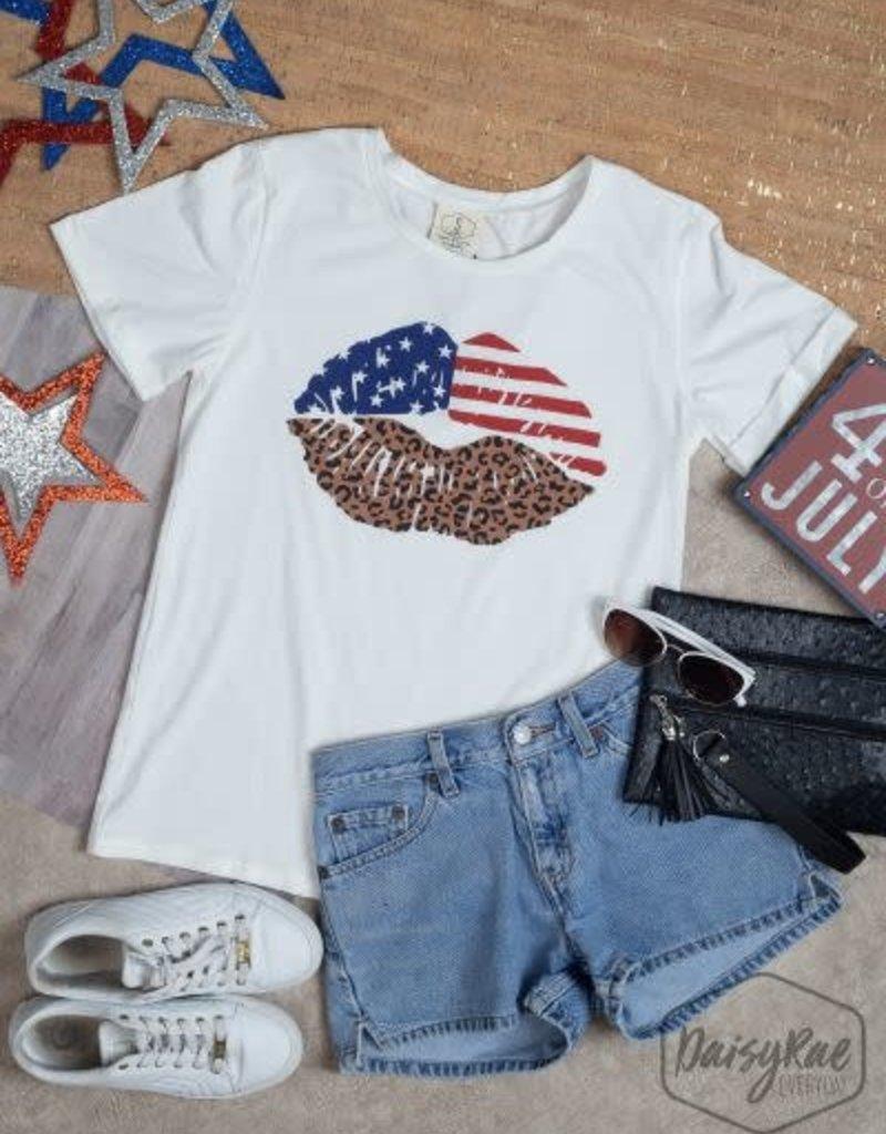 USA Flag Lips w/ Leopard