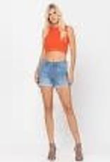 Denim Cuffed Hem Shorts