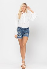 Mid-Rise Patch Jean Shorts
