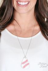 Teardrop Leather Baseball Pendant Necklace