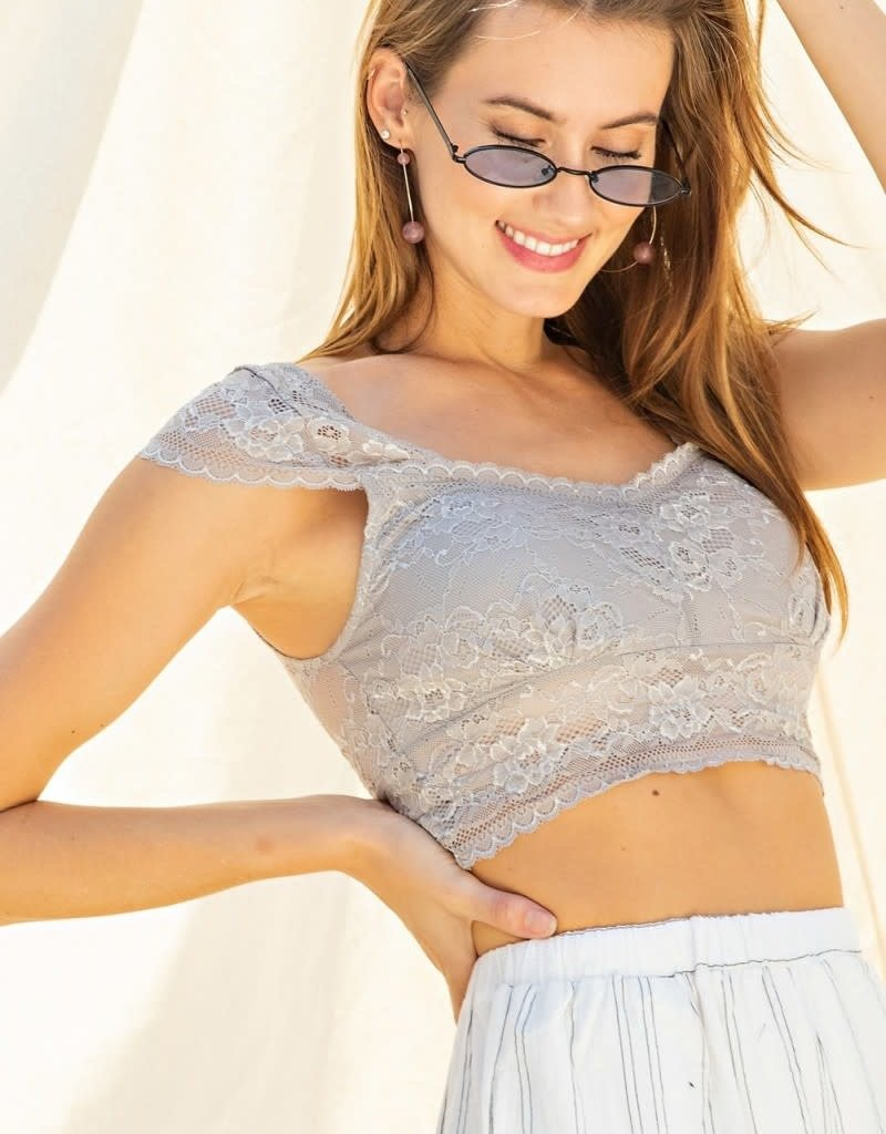 Cap Sleeves Allover Laced Bralette