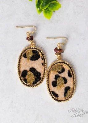 Furry w/ Stone Oval Earrings
