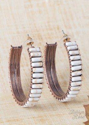 Giddy Up Y'all  Stone Hoop Earrings