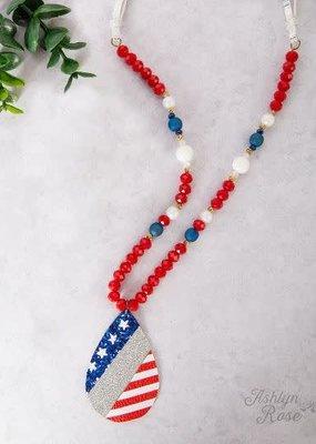 Glitter Up My America Teardrop Necklace