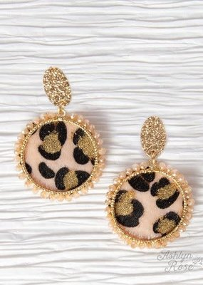 Leopard Mirror on the Wall Circle Earrings