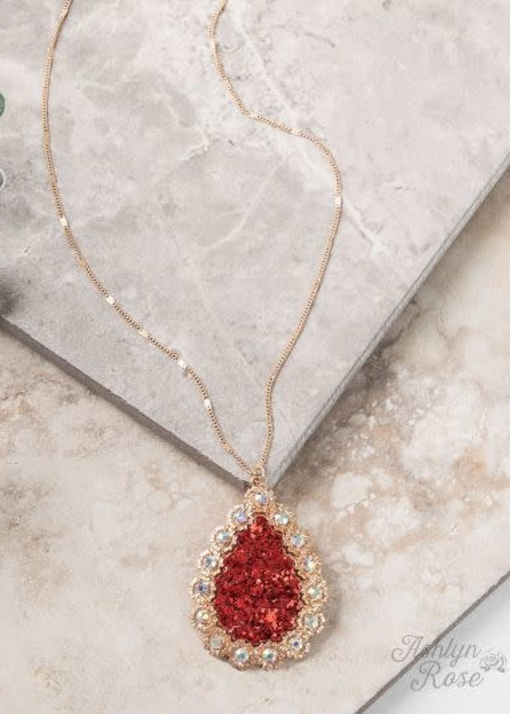 Dainty Gold Chain w/ AB Flower Teardrop Pendant Necklace