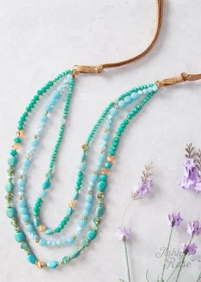 Don't Give Up with Bronze Strap Beaded Necklace