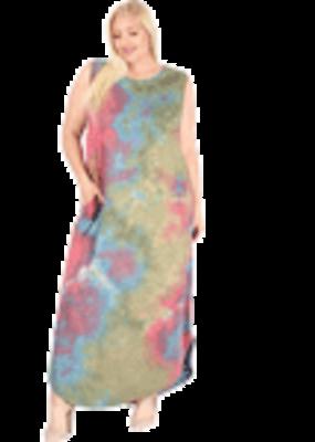 Tie Dye Maxi Dress Tank Style