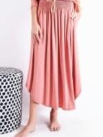 Elastic Waist Rayon Spandex Skirt w/ Pockets