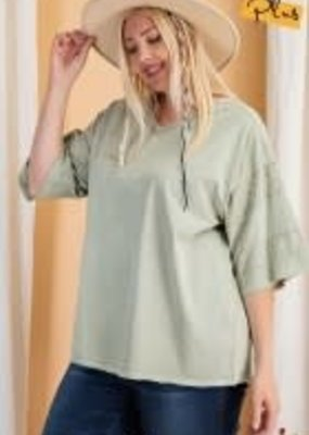 Short Sleeve Mineral Washed Loose Fit Top