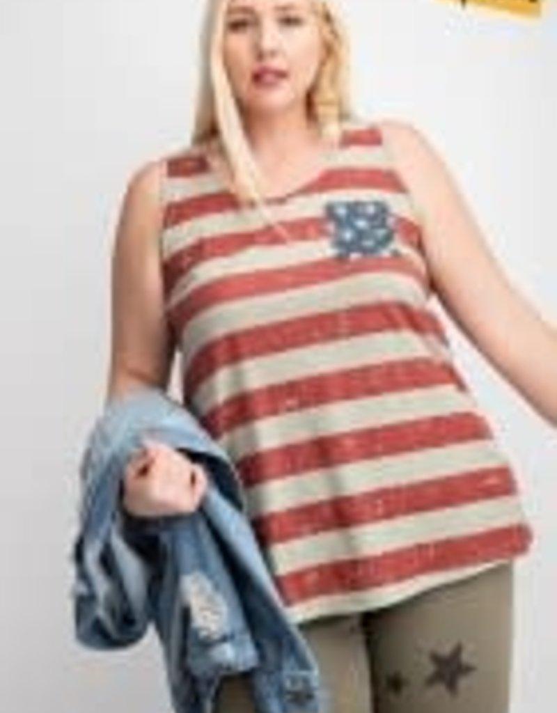 Sleevless American Flag Printed Top