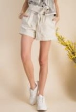 Washed Twill Tie Front Shorts