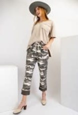 Camo Printed Leopard Cuff Washed Twill Boyfriend Pants