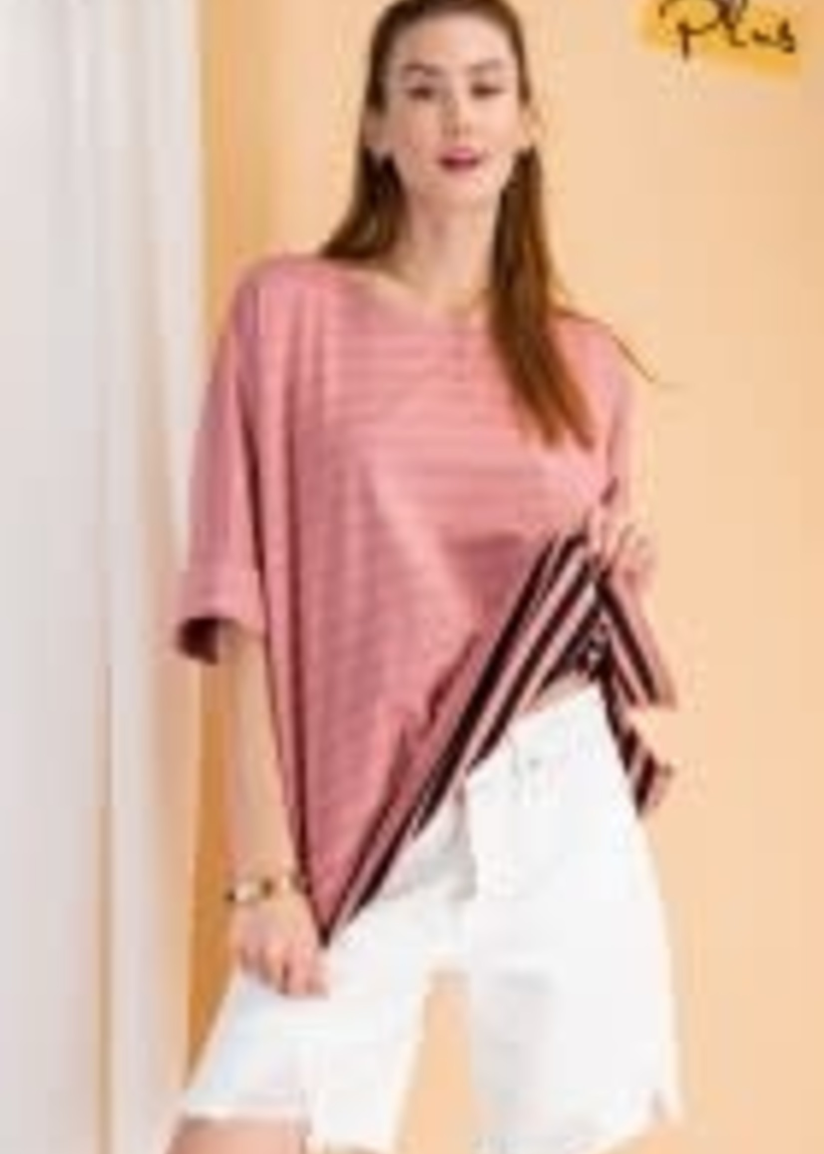 Short Sleeve Striped Reversible Cotton Jersey Top