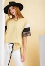 Blocked Short Sleeve Cotton JerseyTop
