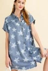 Button Down Star Printed Denim Dress