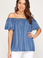 Off the Shoulder Woven Chambray Top w/ Flutter Sleeve
