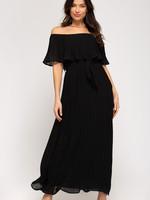 Off the Shoulder Woven Plisse Maxi Dress