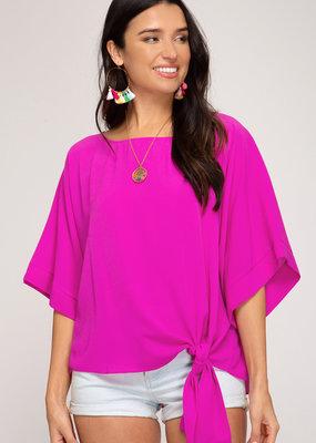 Kimono Sleeve Woven Top w/ Side Tie