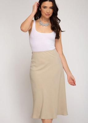Woven Bias Midi Skirt w/ Side Zipper