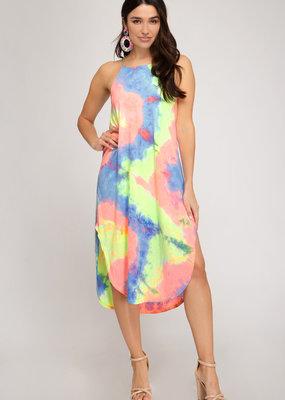 Tie Dyed Sleeveless Knit Midi Dress