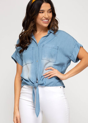 Short Sleeve Chambray Top w/ Front Tie