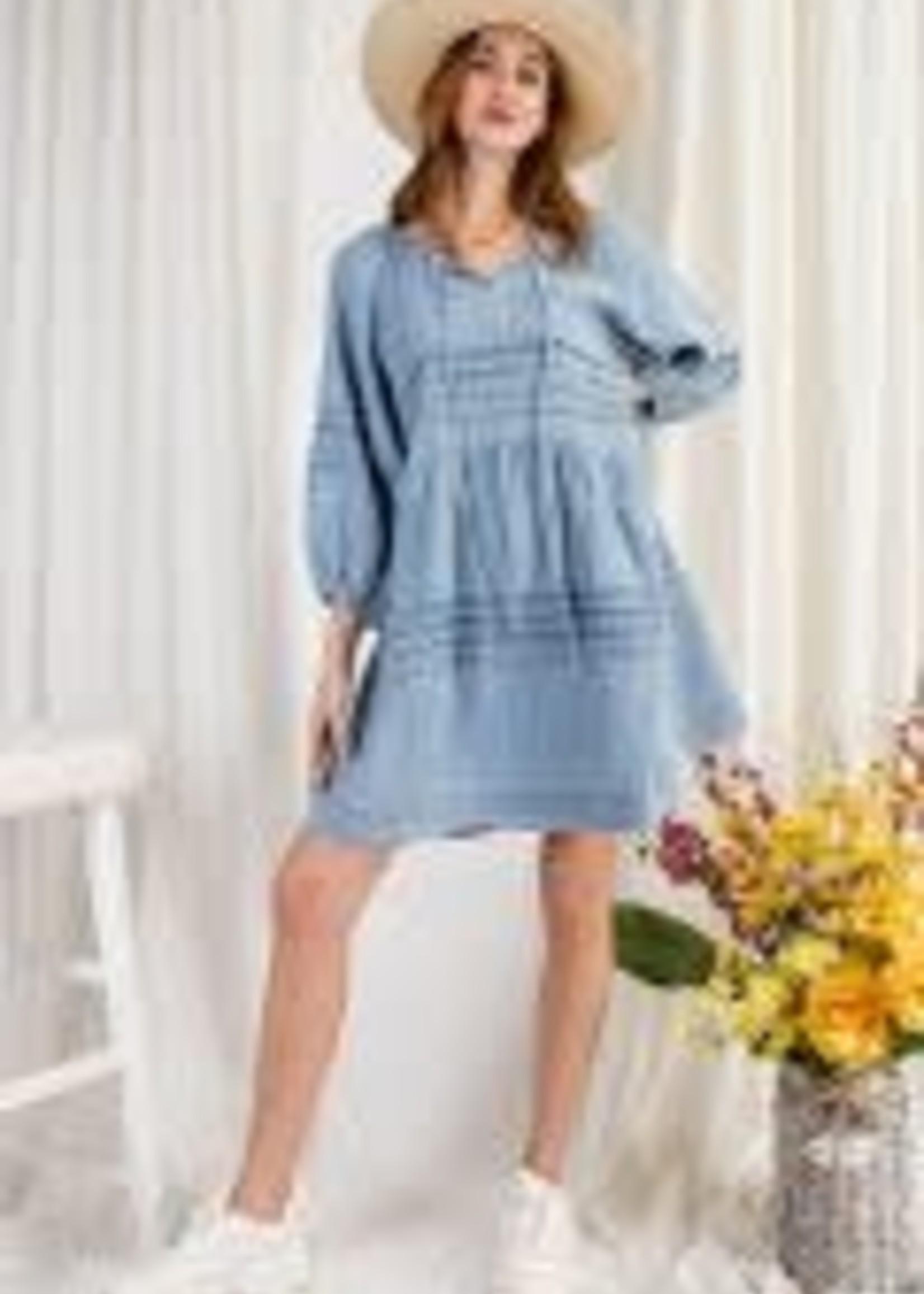 3/4 Sleeve Washed Denim Dress