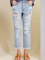 Distressed Washed Denim Jeans