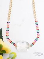 So Dainty & Sweet Chain Necklace w/ Glass Stone Pendant