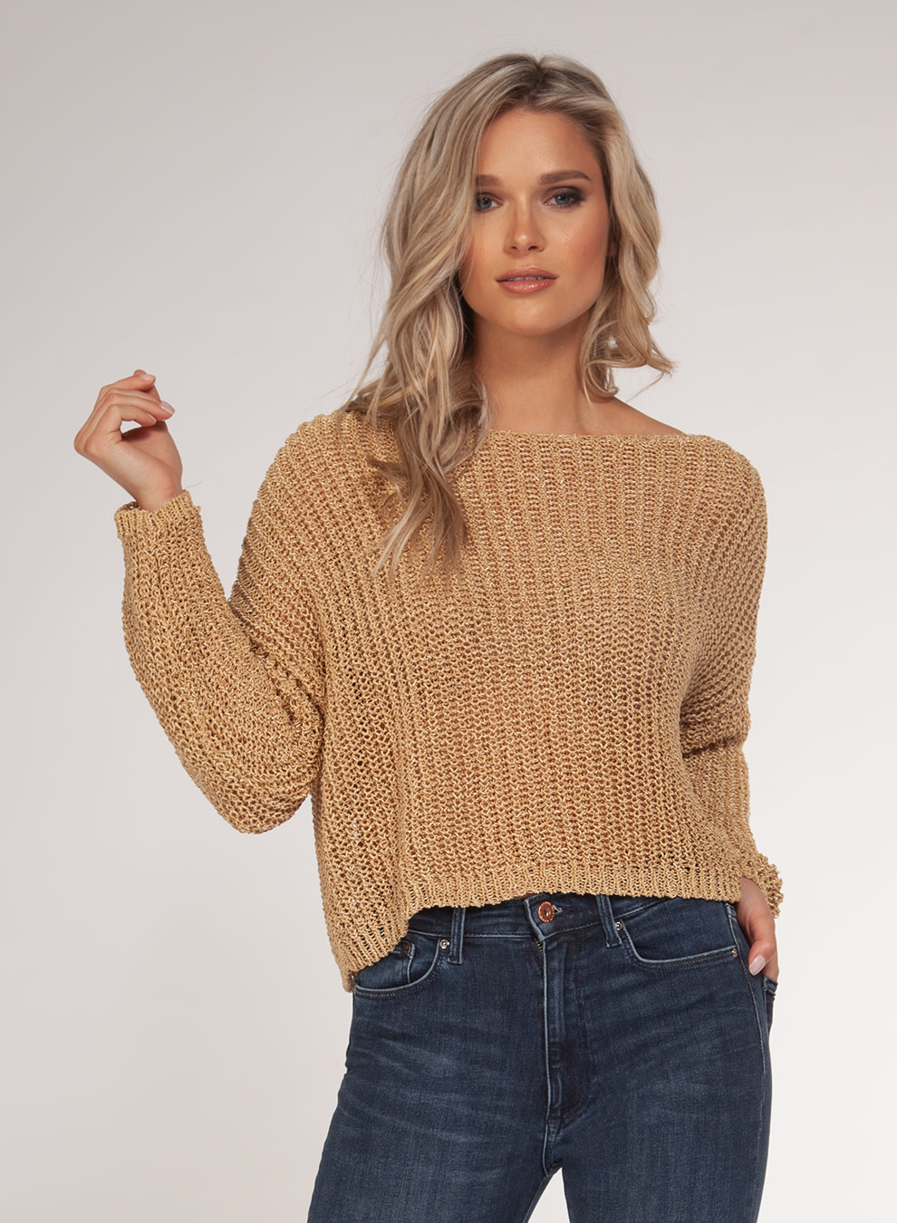 DEX L/SLV CROCHET SWEATER