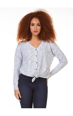 DEX L/SLV V NECK BUTTON DOWN TOP