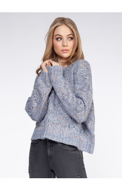 DEX L/SLV POM POM SWEATER DUSTY BLUE CONFETTI