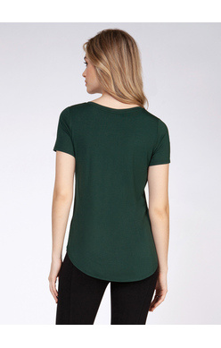 DEX V NECK T SHIRT IN HUNTER GREEN