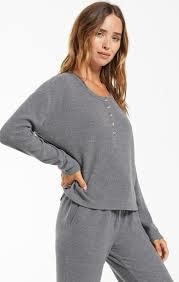 ZSUPPLY AIMEE HENLEY RIB TOP PEWTER