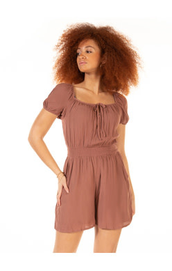 DEX SS SQUARE NECK SMOCKED WAIST ROMPER