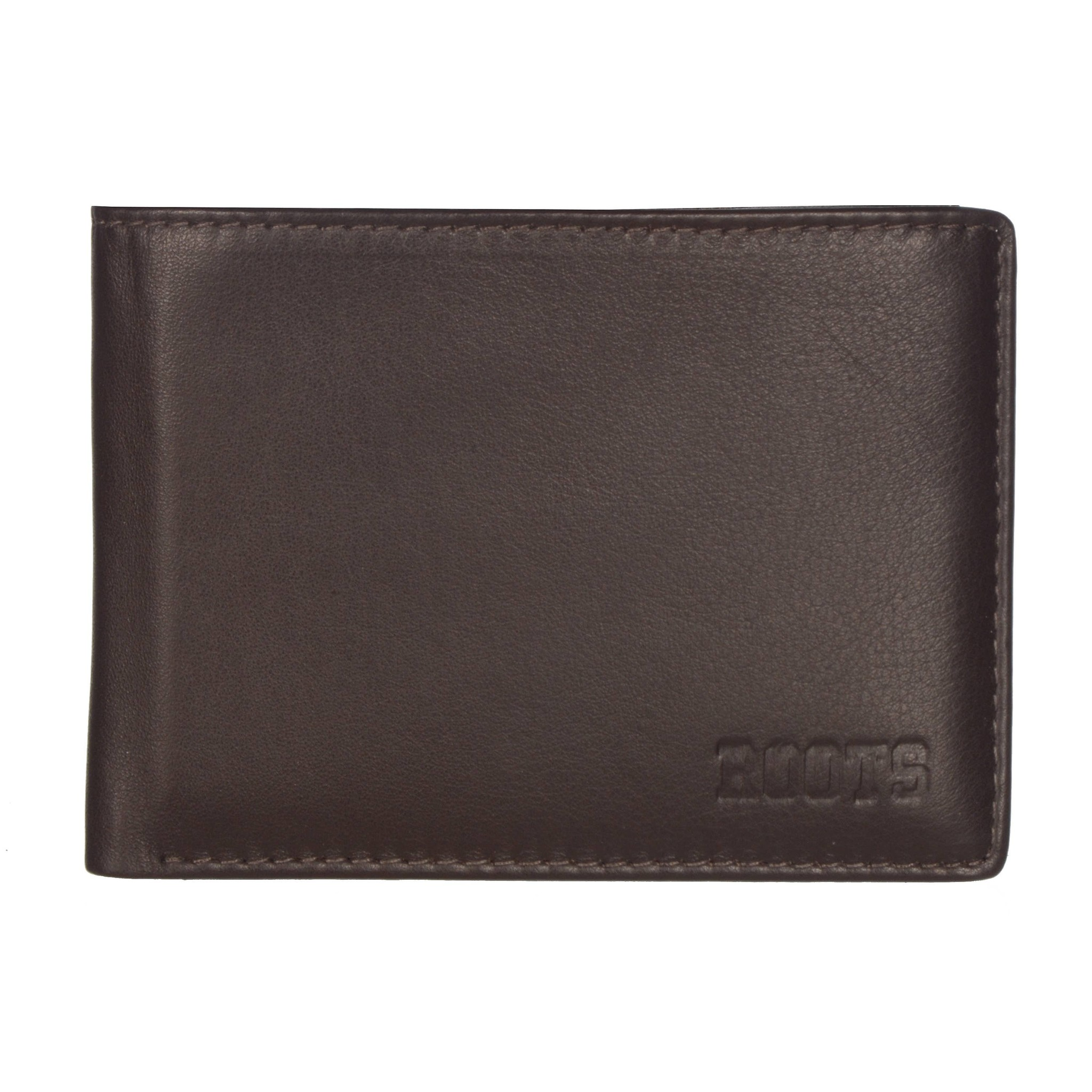 ROOTS  MENS LEATHER PASSCASE WALLET-BROWN
