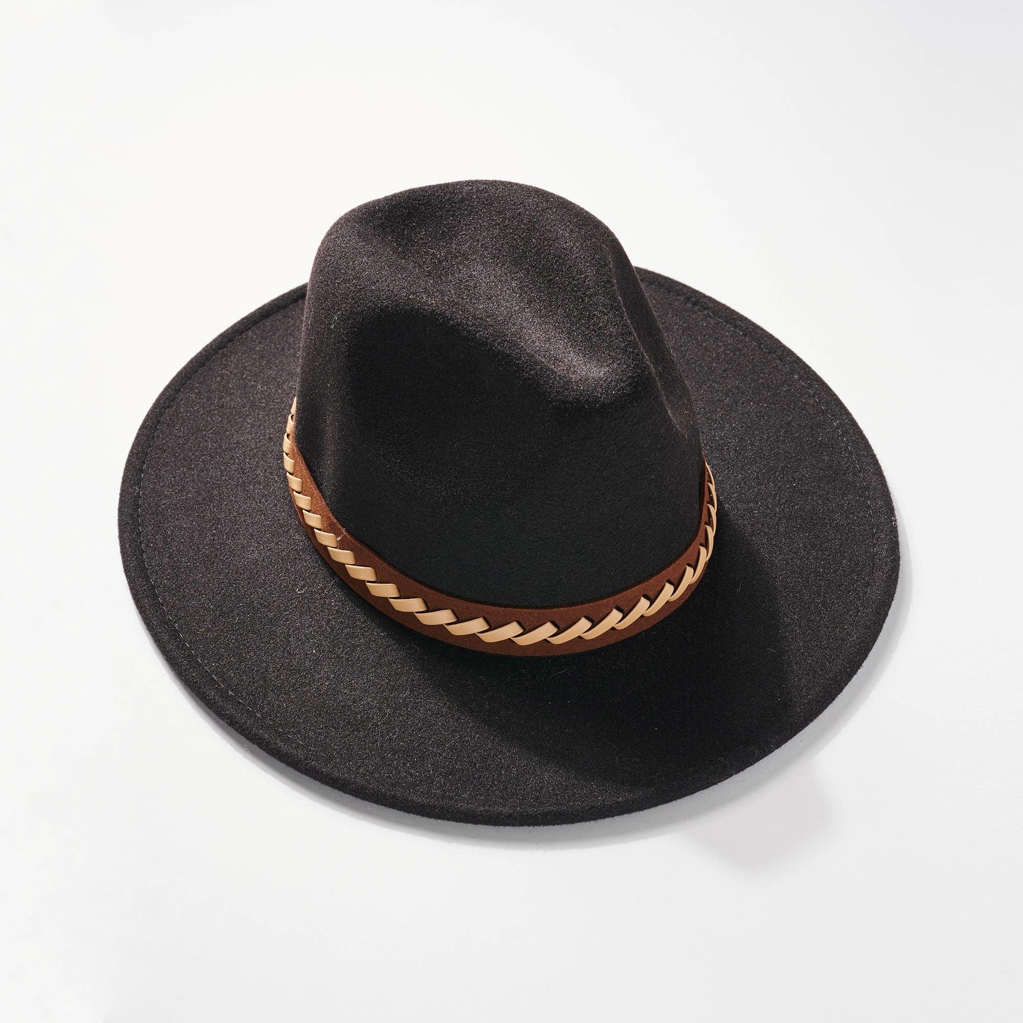 AVENUE ZOE PANAMA HAT BLACK WITH BRAIDED STRAP